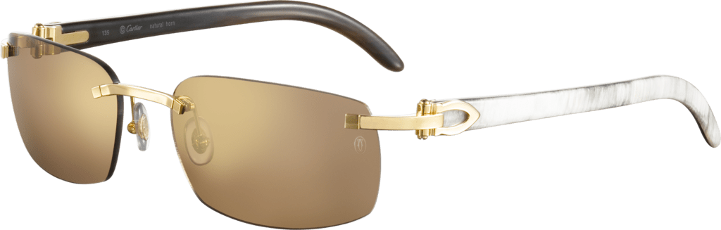 C Décor sunglassesWhite buffalo horn, smooth golden finish, brown lenses