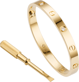 Love bracelet, 4 diamonds Yellow gold, diamonds