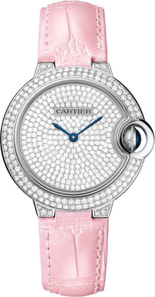 Ballon Bleu de Cartier watch 33 mm, 18K white gold, diamonds, leather