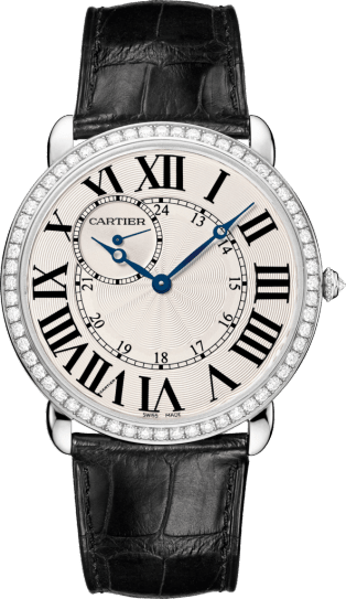 Ronde Louis Cartier watch 42 mm, rhodiumized 18K white gold, leather, diamonds