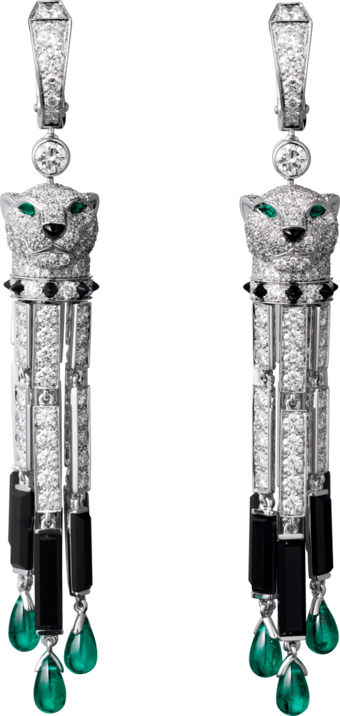 Panthère de Cartier earringsWhite gold, emeralds, onyx, diamonds