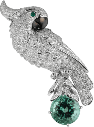 Cartier High Jewelry Fauna and Flora brooch Platinum, white gold, green tourmaline, diamonds, emeralds, mother-of-pearl