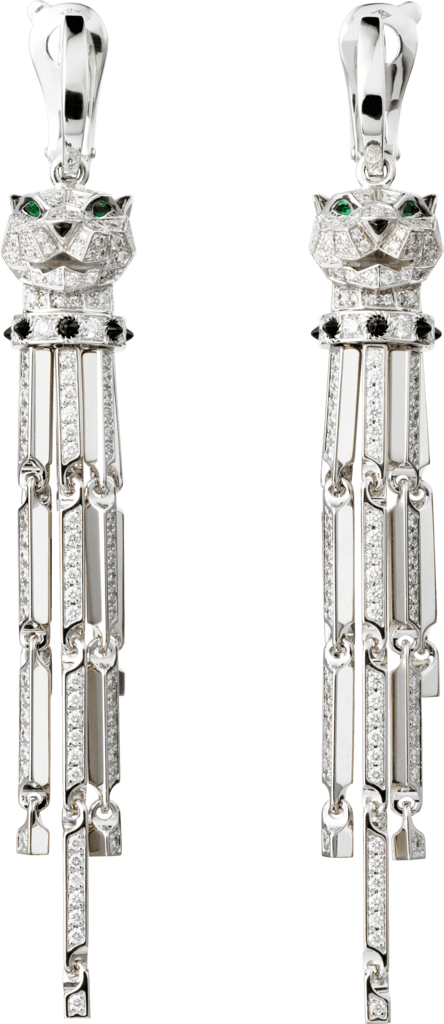 Panthère de Cartier earringsWhite gold, diamonds, emeralds, onyx