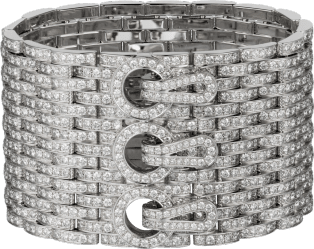 Agrafe cuff bracelet White gold, diamonds