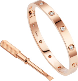 Love bracelet, 10 diamonds Pink gold, diamonds
