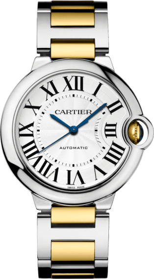 Ballon Bleu de Cartier watch 36mm, automatic movement, yellow gold, steel