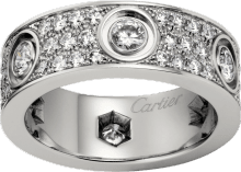 Love ring, diamond-paved White gold, diamonds