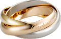 Trinity ring, classic White gold, yellow gold, pink gold