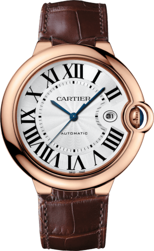 Ballon Bleu de Cartier watch 42 mm, pink gold, leather, sapphire