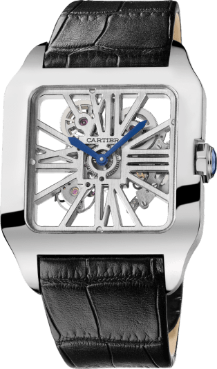 Santos-Dumont Skeleton watch XL, manual, white gold
