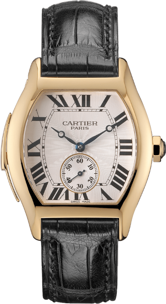 Tortue watch, large modelLarge model, hand-wound mechanical movement, yellow gold, leather