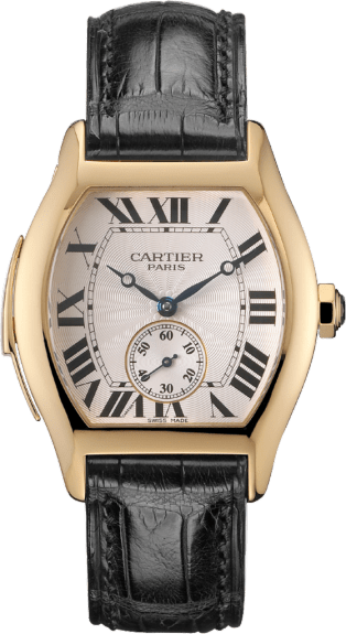 Tortue watch, large model Large model, hand-wound mechanical movement, yellow gold, leather