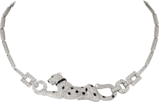 Panthère de Cartier necklace White gold, diamonds, emerald, onyx