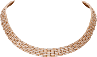 Maillon Panthère thin necklace, 5 diamond-paved rows Pink gold, diamonds