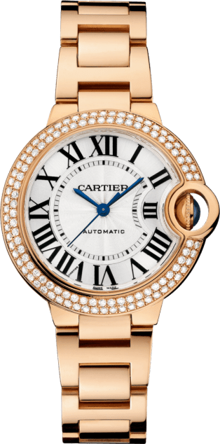 Ballon Bleu de Cartier watch 33 mm, 18K pink gold, diamonds