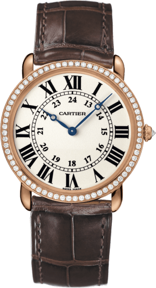 Ronde Louis Cartier watch 36mm, hand-wound mechanical movement, rose gold, diamonds, leather