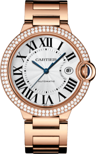 Ballon Bleu de Cartier watch 42 mm, 18K pink gold, diamonds, sapphire