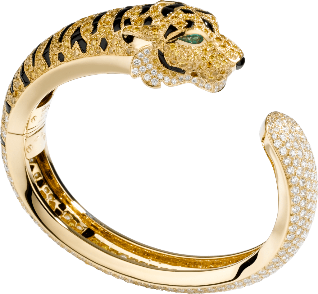 Faune et Flore de Cartier braceletYellow gold, emeralds, onyx, yellow diamonds, diamonds