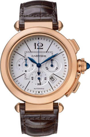 Pasha 42 mm watch 42 mm, pink gold, leather