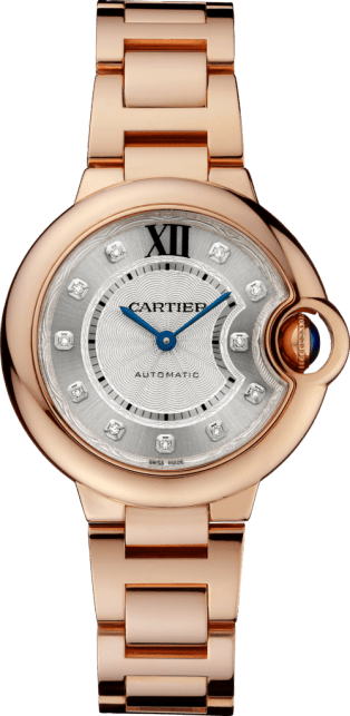 Ballon Bleu de Cartier watch 33mm, automatic movement, rose gold, diamonds