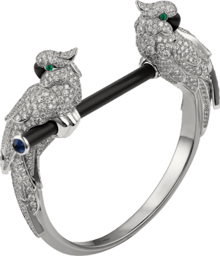 Les Oiseaux Libérés bracelet White gold, emeralds, sapphires, onyx, black ceramic, diamonds