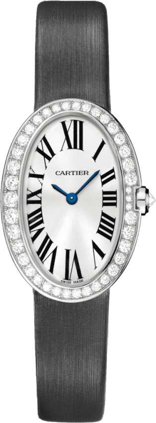 Baignoire watch, small model Small model, quartz movement, white gold, diamonds, canvas