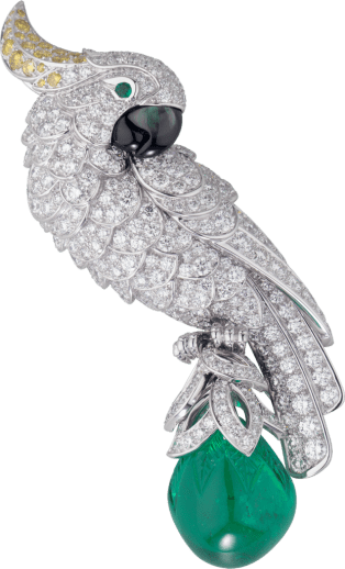 Cartier High Jewelry Fauna and Flora brooch Platinum, emerald, mother-of-pearl, diamonds