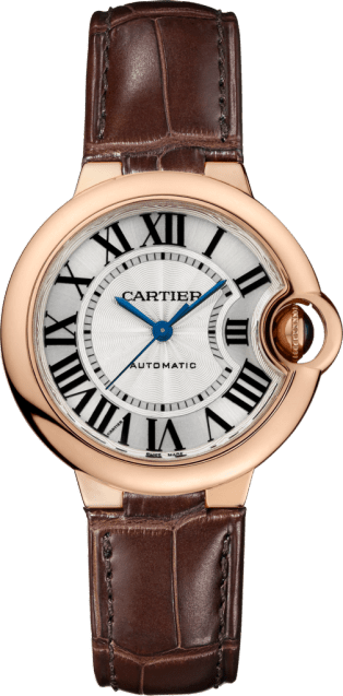 Ballon Bleu de Cartier watch 33mm, automatic movement, pink gold, leather