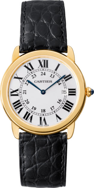 Ronde Solo de Cartier watch 36 mm, 18K yellow gold, steel, leather