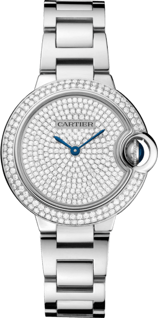 Ballon Bleu de Cartier watch 33 mm, 18K white gold, diamonds