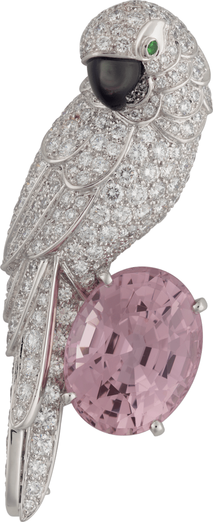 Cartier High Jewelry Fauna and Flora broochPlatinum, sapphire, mother-of-pearl, emeralds, diamonds