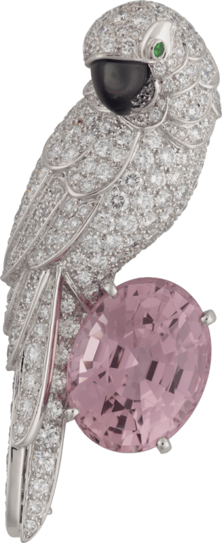 Cartier High Jewelry Fauna and Flora brooch Platinum, sapphire, mother-of-pearl, emeralds, diamonds
