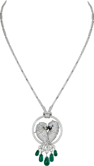 Les Oiseaux Libérés necklace White gold, emeralds, sapphire, mother-of-pearl, diamonds