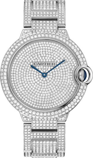 Ballon Bleu de Cartier watch 42 mm, 18K white gold, diamonds