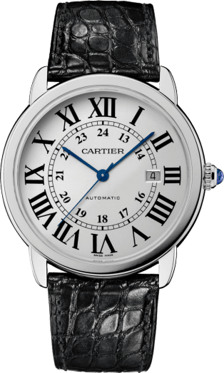 Ronde Solo de Cartier watch 42 mm, steel, leather