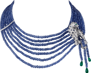 Panthère de Cartier High Jewelry necklace Platinum, onyx, sapphires, emeralds, diamonds