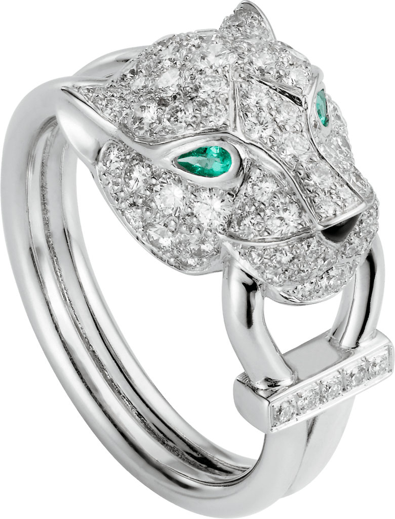 Panthère de Cartier ringWhite gold, diamonds, emeralds, onyx