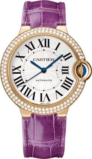 Ballon Bleu de Cartier watch 36 mm, 18K pink gold, leather, sapphire, diamonds