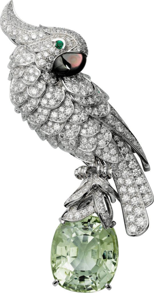 Cartier High Jewelry Fauna and Flora broochPlatinum, white gold, green tourmaline, diamonds, emeralds, mother-of-pearl