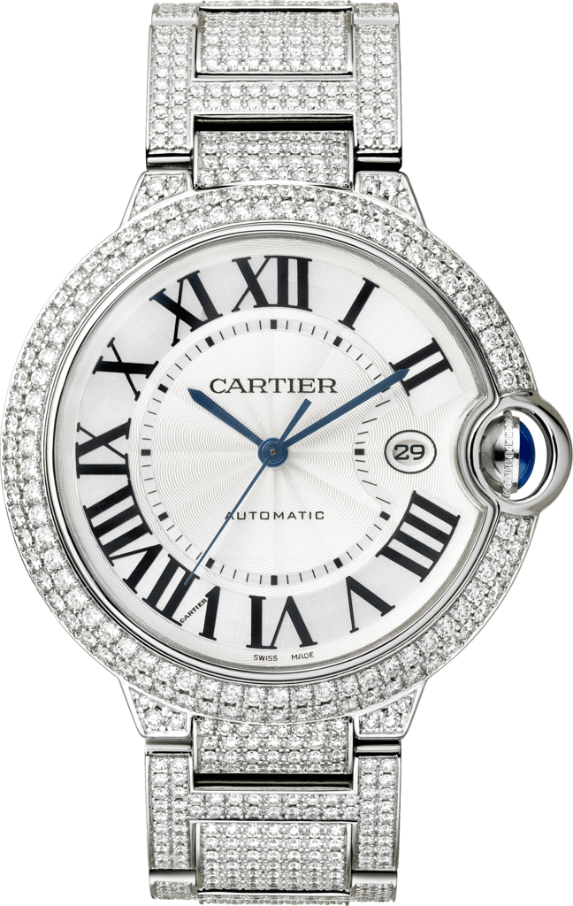 Ballon Bleu de Cartier watch42 mm, rhodiumized white gold, diamond