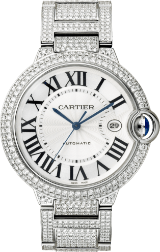 Ballon Bleu de Cartier watch 42 mm, rhodiumized white gold, diamond