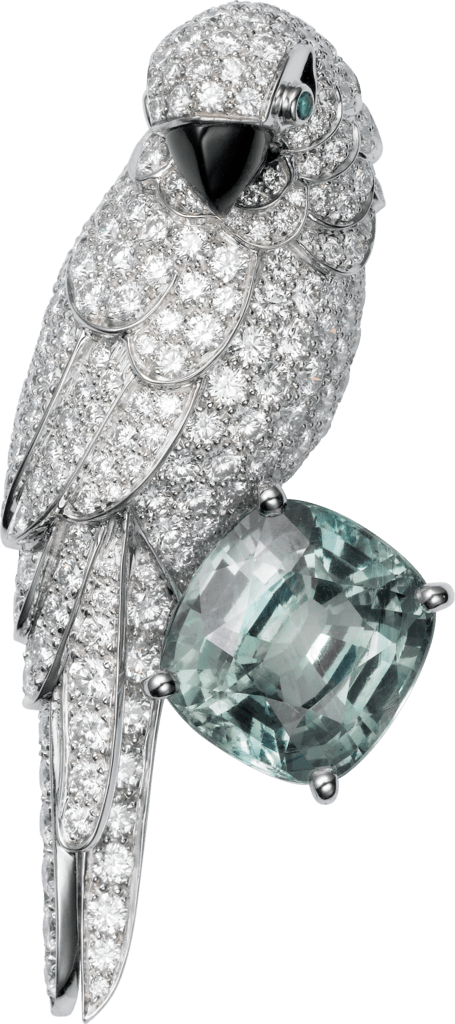 Cartier High Jewelry Fauna and Flora broochPlatinum, white gold, sapphire, mother-of-pearl, emeralds, diamonds