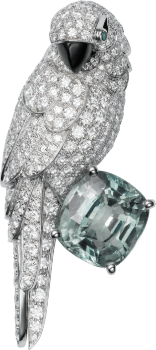 Cartier High Jewelry Fauna and Flora brooch Platinum, white gold, sapphire, mother-of-pearl, emeralds, diamonds