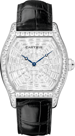 Tortue watch XL, rhodiumized white gold, leather, diamonds