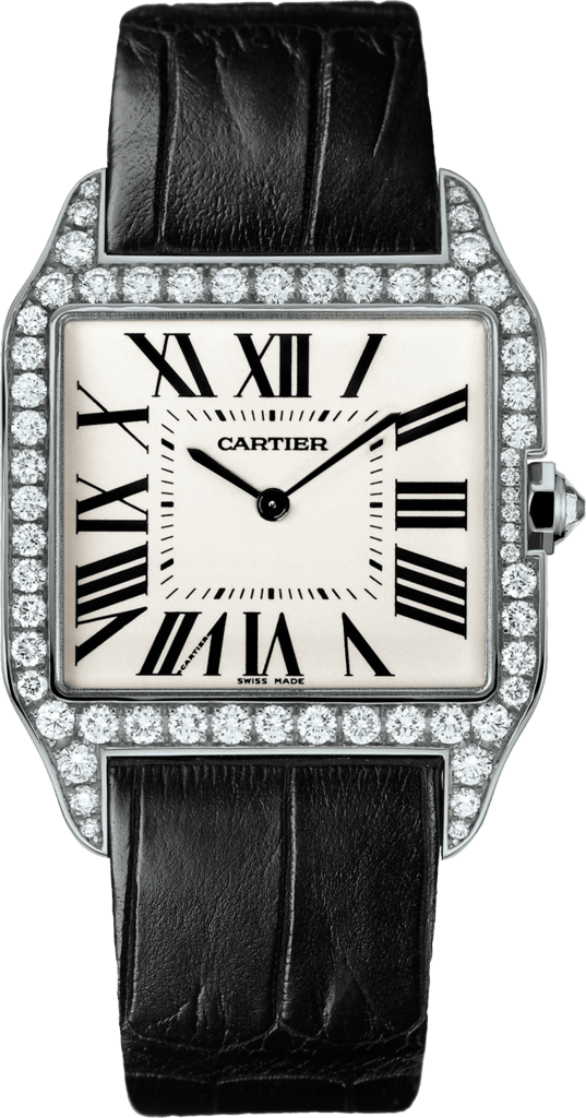 Santos-Dumont watchLarge model, rhodiumized 18K white gold, leather, diamonds
