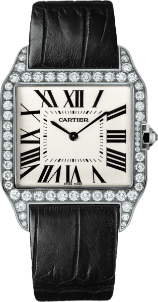 Santos-Dumont watch Large model, rhodiumized 18K white gold, leather, diamonds