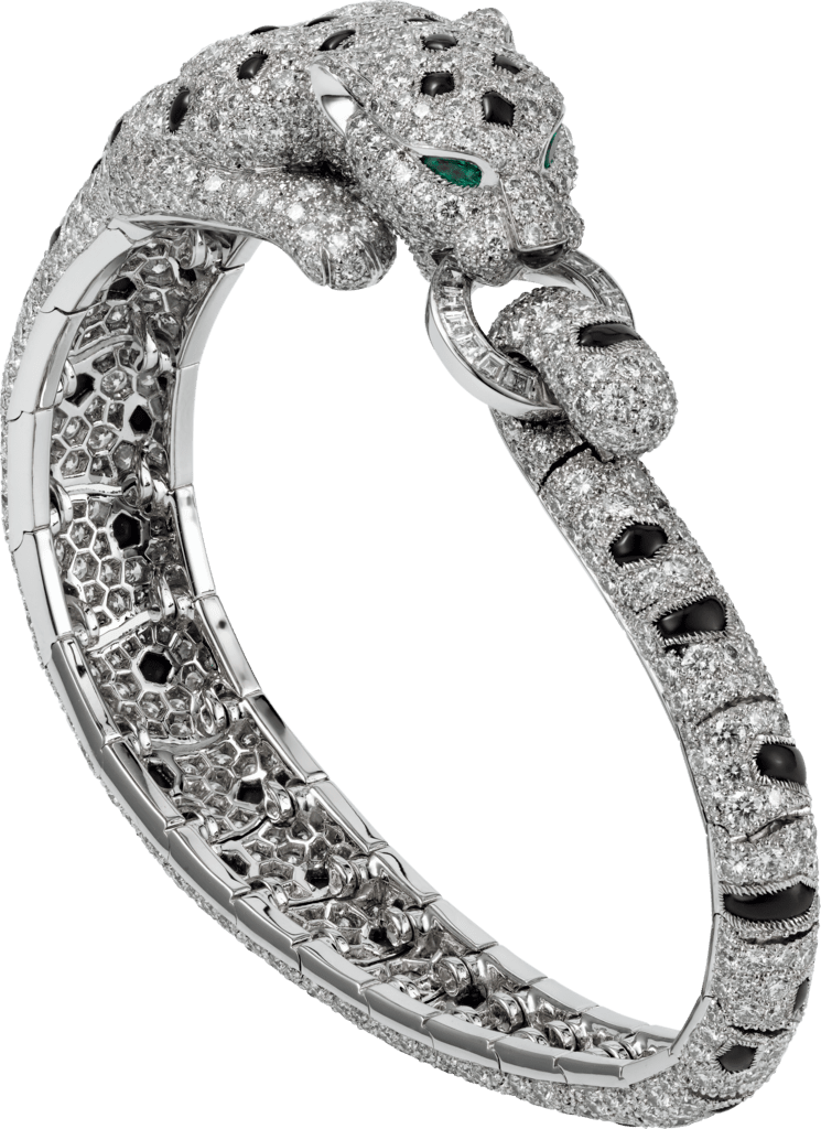 Panthère de Cartier braceletPlatinum, emeralds, onyx, diamonds