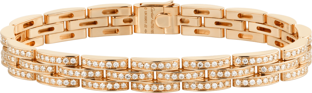 Maillon Panthère thin bracelet, 3 diamond-paved rowsPink gold, diamonds