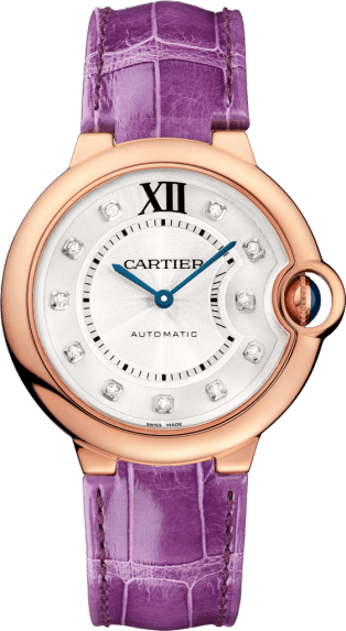 Ballon Bleu de Cartier watch 36 mm, 18K pink gold, leather, diamonds