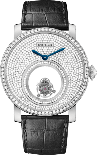 Rotonde de Cartier Mysterious Double Tourbillon watch 45 mm, platinum, leather